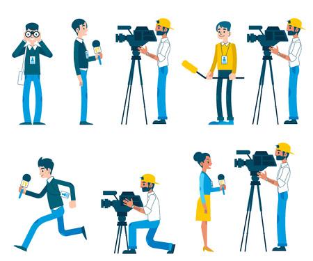 Corrispondenza vettoriale, reportage dal vivo, intervista video e set di caratteri del concetto di giornalismo. Uomini, donne che forniscono reportage per tv, telegiornali.