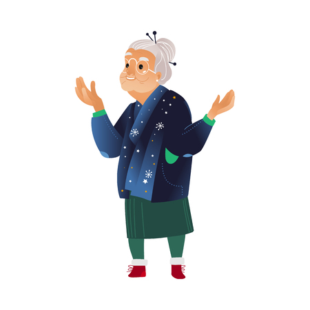Vector illustration of grandmother in winter festive clothes with arms spread out in sides waiting or surprising isolated on white background - cartoon aged woman watching excited in winter holiday.