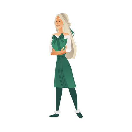 Vector illustration of young smiling girl in green festive dress standing and holding wrapped gift box with bow isolated on white background - holiday female cartoon character. Ilustrace