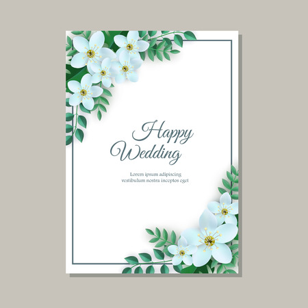 Vector illustration of tender wedding congratulation card with frame of light flowers and green leaves on white background with copy space - romantic gentle floral composition.