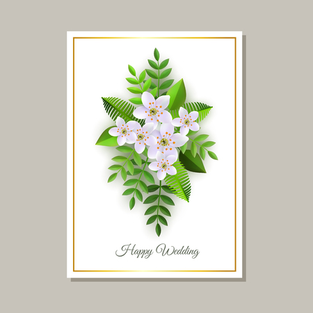 Vector illustration of wedding congratulation card with tender floral composition of light pink flowers and green leaves on white background - romantic design with elegant blooms. Illustration