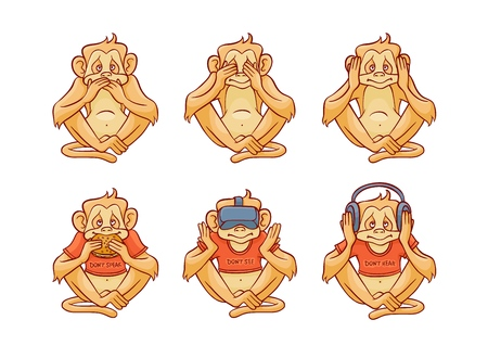 Vector see no evil, hear no evil, speak no evil metaphor with monkeys covering eyes, mouth, ears by hands, eating burger, wearing headphones and VR headset. Sketch ape animals for moral design
