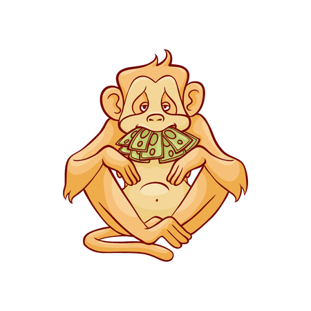 Vector illustration of monkey dont speak because of stack of green banknotes in his mouth in sketch style isolated on white background - hand drawn wild animal with mouth covered with money.