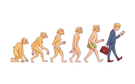 Concepto de evolución vectorial con proceso de crecimiento de mono a hombre con mono, hombre de las cavernas al empresario en traje con maleta con smartphone. Desarrollo de la humanidad, teoría de darwin Ilustración de vector