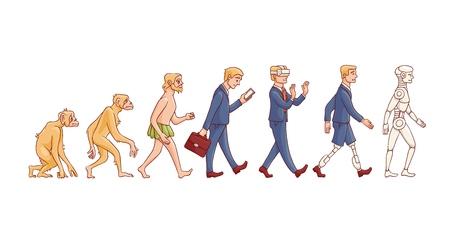 Concepto de evolución vectorial con proceso de crecimiento de mono a cyborg y robots con mono, hombre de las cavernas a hombre de negocios en traje, persona de piernas artificiales y criatura robótica. Desarrollo de la humanidad