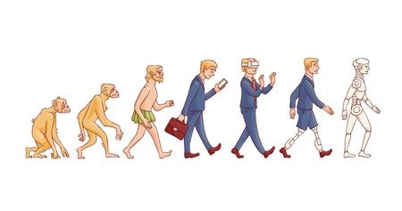 Vector evolution concept with ape to cyborg and robots growth process with monkey, caveman to businessman in suit, artificial legs person and robotic creature. Mankind development