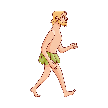 Vector sketch caveman walking naked in loincloth made of leaves. Prehistory barbarian, ancient primitive homo male character. Isolated illustration