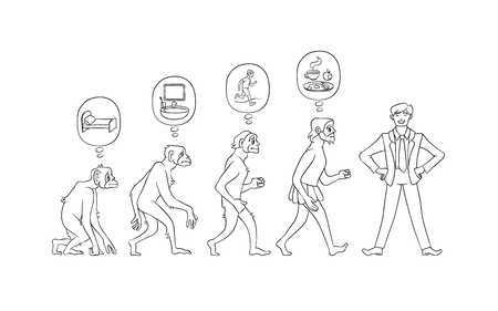 Vector illustration set of morning evolution of man from waking up in bed as monkey to self-collected person ready for effective work in hand drawn line black and white style isolated on white.