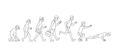 Concepto de evolución vectorial con proceso de crecimiento de mono a hombre con mono, hombre de las cavernas al hombre de negocios en traje y al deportista trabajando. Desarrollo de la humanidad, teoría de darwin