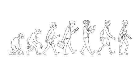 Concepto de evolución de vector con mono monocromo a cyborg y proceso de crecimiento de robots con mono, hombre de las cavernas a hombre de negocios en traje, persona de piernas artificiales y criatura robótica. Desarrollo de la humanidad Ilustración de vector
