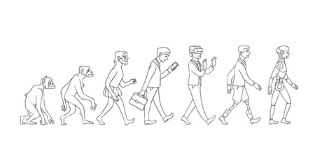 Vector evolution concept with monochrome ape to cyborg and robots growth process with monkey, caveman to businessman in suit, artificial legs person and robotic creature. Mankind development