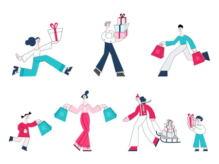 Vector illustration set of people with shopping bags and present boxes for winter holidays isolated on white background - flat characters buying gifts for Christmas and New Year.