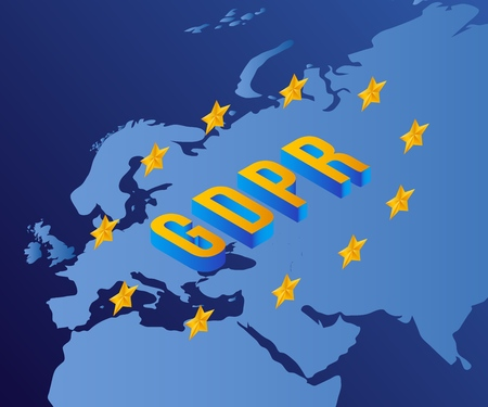 Vector general data protection regulation concept background with GDPR letters with stars on blue europe map backdrop. EU personal inforamation security control policy