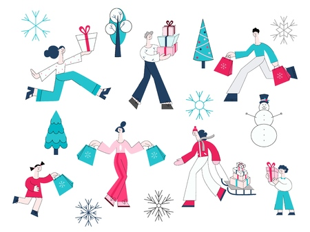 Vector illustration set of people with shopping bags and present boxes and winter decorative elements for seasonal and holidays design in flat style isolated on white background. 向量圖像