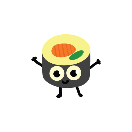 Vector illustration of sushi roll cartoon character in flat style - cute emoticon of traditional japanese sea food with smiling face and greeting hands up gesture isolated on white background.