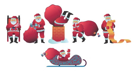 Ilustracja wektorowa Świętego Mikołaja w płaski na białym tle. Różne sceny z symbolem Bożego Narodzenia i Nowego Roku w czerwonym stroju zamierzają rozdawać prezenty i prezenty na święta.