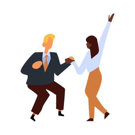 Vector flat funny woman, man in suit having fun at corporate party dancing holding hands. Business people goes wild at birthday, corporate or christmas party