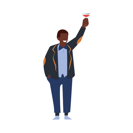 Vector flat african man in suit having fun at corporate party hugging drinking alcohol cocktail saluting holding it above head. Businessman goes wild at birthday, corporate or christmas party