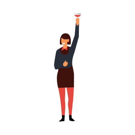Vector flat funny woman in formal clothing having fun at corporate party raising hand with alcohol cocktail up saluting. Businesswoman goes wild at birthday, corporate or christmas party Illustration