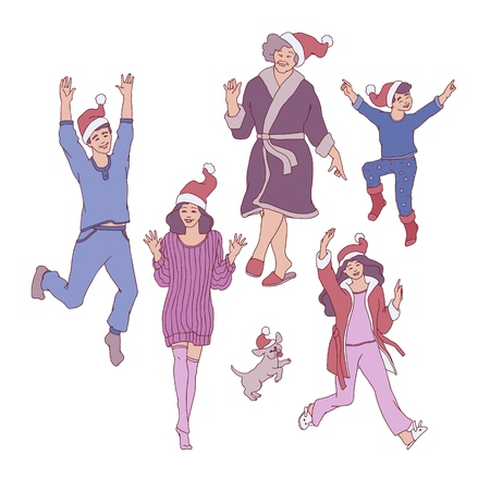 Vector family characters having fun dancing in cozy home clothing and santa hat. Male, female relatives, elderly woman, boy and girl kids, dog pet, teen man and woman with happy faces