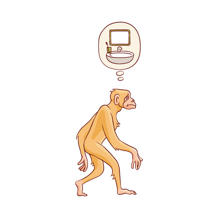 Vector cute brown monkey walking in straight direction thinking of washing up. Cartoon zoo animal, adorable jungle ape character. Prmate on isolated background
