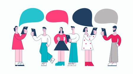 Vector young women and man in casual clothing talking to each other gesticulating with empty speech bubble above head. Friends or colleagues and social communication. Flat stylized illustration