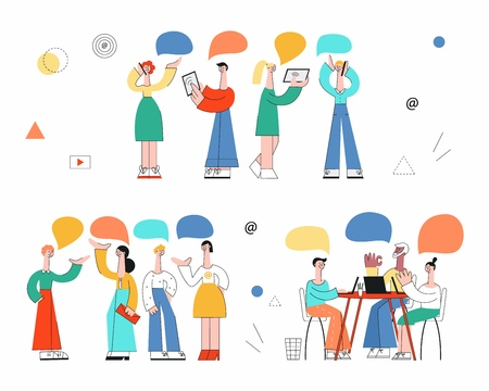 Vector stylized male, female colleagues discussing working process, business projects gesticulating with empty speech bubbles above heads holding devices, sitting at table set. Women, men at meeting