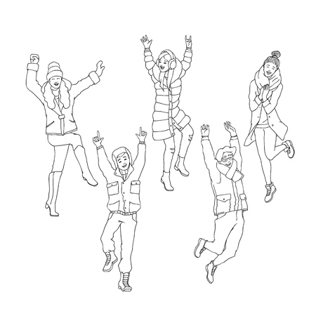 Vector sketch cheerful young women, men in warm winter or autumn clothing - jacket or coat, scarf, hat boots having fun laughing, jumping outdoors. Female, male character, positive emotions monochrome