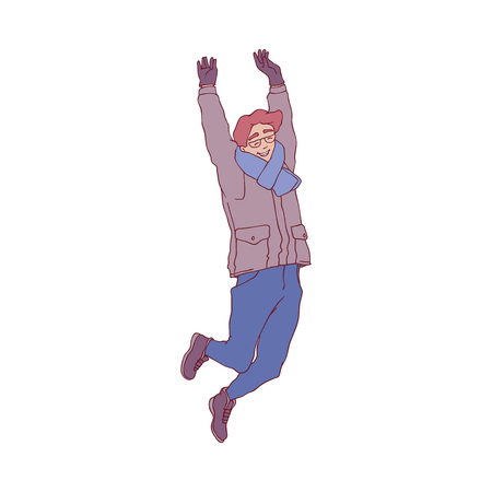 Vector sketch cheerful young man in warm winter or autumn clothing - jacket or coat, scarf, hat and boots having fun laughing outdoors. Male character with positive emotions