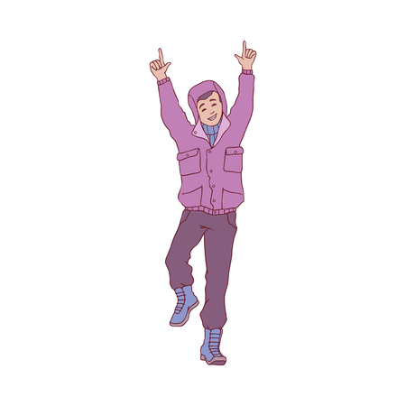 Vector sketch cheerful young man in warm winter or autumn clothing - jacket with hood and boots having fun laughing jumping outdoors. Male character with positive emotions