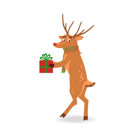Vector illustration of reindeer with red nose and antlers in red and green striped scarf holding wrapped and decorated gift box in flat style isolated on white background.