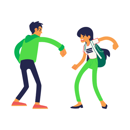 Vector physical conflict concept with young man and woman with angry facial expression using their fists to punch each other. Male, female characters acting with violence. Isolated illustration Illustration