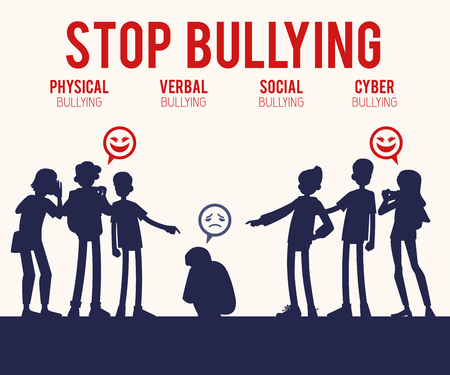 Vector concept of bullying and teen harassment. Lonely young man victim silhouette sitting holding knees with sad face with male, female student viciously laughing pointing to him, making photo. Stockfoto - 115135279