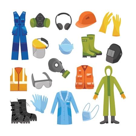 Vector icono de equipo y uniforme de protección. Ropa profesional para trabajos en áreas contaminadas, riesgo biológico o en manufactura sucia. Desgaste de seguridad industrial profesional, ilustración aislada