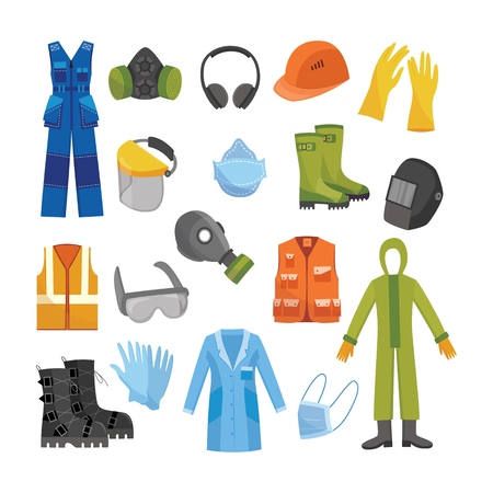 Vector protective uniform and equipment icon. Professional clothing for work in contaminated areas, bio hazard or at dirty manufacturing. Professtional industrial safety wear, isolated illustration