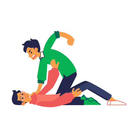 Vector physical conflict concept with young man with angry facial expression kicking another one in glasses while hes down. Male characters acting with violence. Isolated illustration