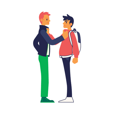 Vector physical conflict concept with two young men with angry facial expression grabbing each others collars. Male characters acting with violence. Isolated illustration