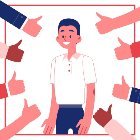 Vector young male employee standing smiling surrounded by thumbs up. Man with happy facial expression gets promotion, recognition for an achievement. Best worker, excellent performance