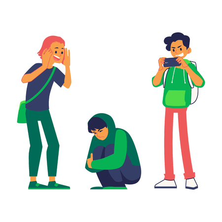 Vector concept of bullying and teen harassment. Young angry man making photo of stressed male character in hoodie shirt sitting at knees holding head after act of bullying.