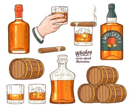 Insieme di simboli del whisky di vettore. Bottiglia di vetro, mano dell'uomo che tiene un bicchiere di scotch con cubetti di ghiaccio, barile di alcol in legno, set di icone di schizzo di sigaro avana fumante. Design pubblicitario per prodotti alcolici. Vettoriali