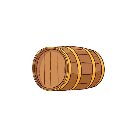 Vector wooden alcohol barrel hand drawn icon. Traditional wiskey, rum, scotch or wine oak keg, container for transportation. Retro cellar storage element. Isolated illustration Illustration