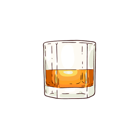 Vector whiskey or rum glass sketch icon. Alcohol drink cup for luxury celebration or product advertising design. Party drink shot with orange liquid. Isolated illustration
