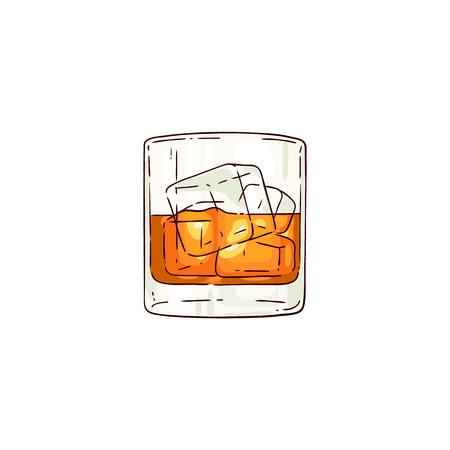 Bicchiere di whisky o rum di vettore con icona di schizzo di cubetti di ghiaccio. Tazza per bevande alcoliche per celebrazioni di lusso o design pubblicitario del prodotto. Bevanda da festa sparata con liquido arancione. Illustrazione isolata