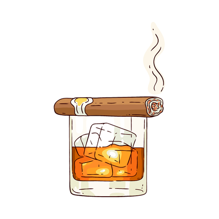 Bicchiere di whisky o rum vettoriale con cubetti di ghiaccio e icona di schizzo di sigaro fumante. Tazza per bevande alcoliche per celebrazioni di lusso o design pubblicitario del prodotto. Colpo di bevanda del partito. Illustrazione isolata Vettoriali