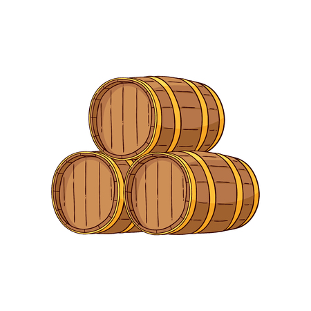 Vector wooden alcohol barrels hand drawn icon. Traditional wiskey, rum, scotch or wine oak keg, container for transportation. Retro cellar storage element. Isolated illustration Illustration