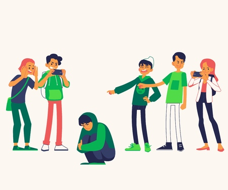 Vector concept of bullying and teen harassment. Lonely young man victim sitting holding knees with sad depressed face with male, female student viciously laughing pointing to him, making photo. Illustration
