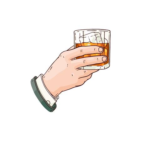 Mano de hombre de negocios de vector sosteniendo un vaso de whisky o ron con cubitos de hielo dibujo icono. Taza de bebida alcohólica para celebración de lujo o diseño publicitario de productos. Bebida de fiesta con líquido naranja Ilustración de vector