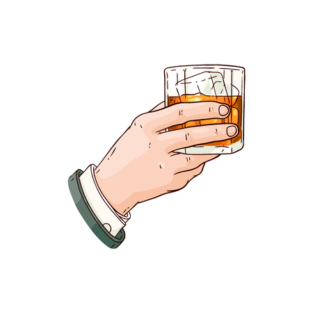 Mano dell'uomo d'affari vettoriale che tiene bicchiere di whisky o rum con icona di schizzo di cubetti di ghiaccio. Tazza per bevande alcoliche per celebrazioni di lusso o design pubblicitario del prodotto. Bevanda da festa con liquido all'arancia Vettoriali