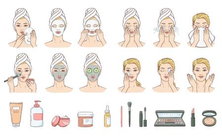 Étapes vectorielles de l'application du masque facial et du nettoyage après le maquillage. Traitement de la peau du visage, thérapie et collection d'accessoires. Jeune femme avec serviette et salon spa. Soins cosmétiques