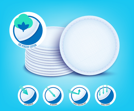 Vector cotton pad for female hygiene. Soft circle sponges for makeup cleaning and cosmetic procedures. Realistic napkins disks for pure facials skin care.